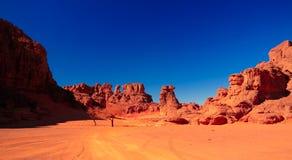 Landschap van zandduin en het beeldhouwwerk van de zandsteenaard in Tamezguida in het nationale park van Tassili nAjjer, Algerije stock foto