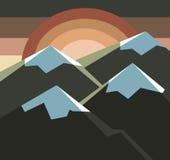 Landschap van zon, hemel en bergen Stock Foto
