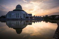 Landschap van zonsopgang Seri Iskandar, Perak, Maleisië stock foto's