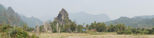 Landschap, Vang Vieng, Laos royalty-vrije stock fotografie