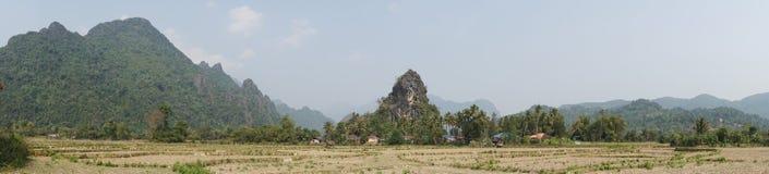 Landschap, Vang Vieng, Laos royalty-vrije stock foto