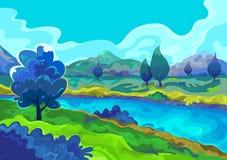 Landschap, Vectorillustratie Royalty-vrije Stock Fotografie