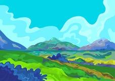 Landschap, Vectorillustratie Stock Foto