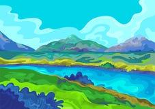 Landschap, Vectorillustratie Royalty-vrije Stock Foto's