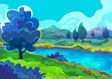 Landschap, Vectorillustratie Royalty-vrije Stock Afbeeldingen