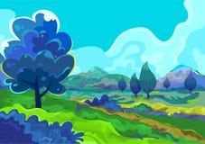 Landschap, Vectorillustratie Stock Afbeelding