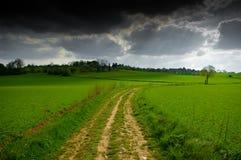 Landschap vóór het onweer Stock Foto