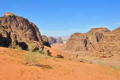 Landschap in Wadi Rum Stock Afbeeldingen
