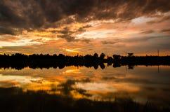 Landschap, wolk, kleurrijke achtergrond, zonsondergang Stock Foto