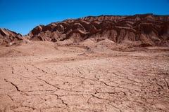 Landschap zonder water in de Vallei van de Maan, Chili Stock Fotografie