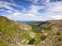 Landschappen van de meren Karakol van Altai Mountains.The Royalty-vrije Stock Afbeeldingen