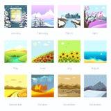 Landschappen in verschillend seizoen, weer Stock Fotografie