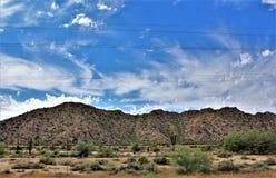 Landschaps toneelmening van Maricopa-Provincie, Mesa, Arizona aan Pinal-Provincie, Florence Junction, Arizona stock foto's