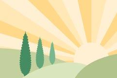 Landschaps vectorillustratie Royalty-vrije Illustratie