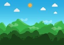 Landschaps vlak ontwerp In de loop van de dag, is het weer duidelijk Vector Illustratie stock illustratie