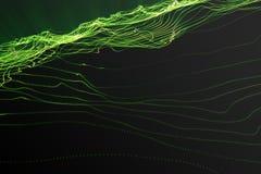 Landschapsachtergrond Cyberspace landschapsnet 3d technologie Abstract groen landschap op zwarte achtergrond met licht Royalty-vrije Stock Foto