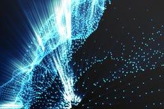 Landschapsachtergrond Cyberspace landschapsnet 3d technologie Abstract landschap op zwarte achtergrond met lichte stralen Royalty-vrije Stock Afbeeldingen
