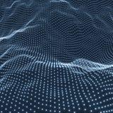 Landschapsachtergrond Futuristisch Landschap met Glanzend Net Laag Polyterrein 3D Wireframe-Terrein Netwerk abstracte achtergrond Stock Afbeelding