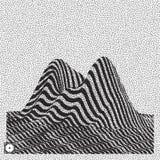 Landschapsachtergrond terrein Zwart-wit korrelig dotworkontwerp Pointillismepatroon met optische illusie Gestippelde vector royalty-vrije illustratie