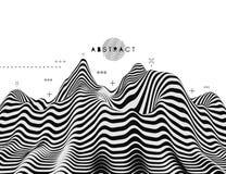 Landschapsachtergrond terrein Zwart-witte achtergrond Patroon met optische illusie 3d vectorillustratie vector illustratie