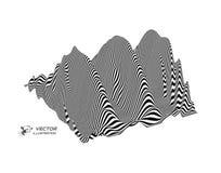 Landschapsachtergrond terrein Zwart-witte achtergrond Patroon met optische illusie 3d vectorillustratie stock illustratie