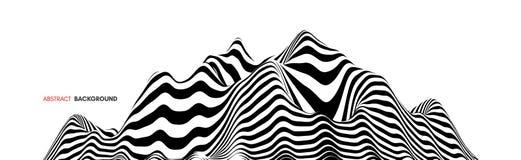 Landschapsachtergrond terrein Zwart-witte achtergrond Patroon met optische illusie 3d vectorillustratie royalty-vrije illustratie