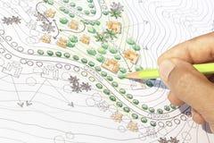 Landschapsarchitect Designing op het plan van de plaatsanalyse royalty-vrije stock fotografie
