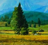 Landschapsbeeld met groep paard equestrians Stock Afbeelding