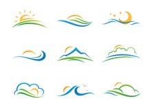 Landschapsembleem en pictogram Royalty-vrije Stock Afbeelding