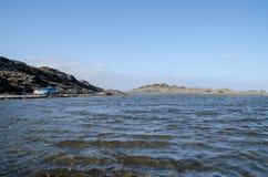 Landschapsfotografie van één van de bekendste plaatsen in Menorca op de kust met een vuurtoren stock foto's