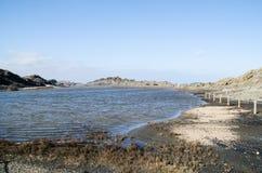 Landschapsfotografie van één van de bekendste plaatsen in Menorca op de kust met een vuurtoren royalty-vrije stock fotografie