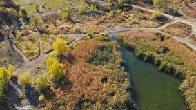 Landschapsmeer van de hoogte in de stad in Uzhgorod stock videobeelden