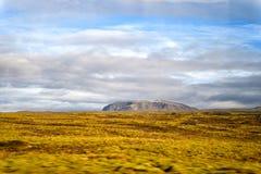 Landschapsmening met grasgebied in reykjavik, IJsland de herfstlandschap op bewolkte hemel Weer en Klimaat aard en stock foto