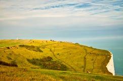 Landschapsmening van de Witte Klippen in Dover Stock Foto