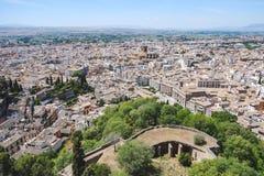 Landschapsmening van Granada van Alhambra paleis stock afbeeldingen