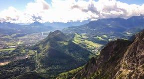 Landschapsmening van het bassin van Salzburg van kabelwagen, Untersberg, Salzburg, Oostenrijk, Europa Stock Foto