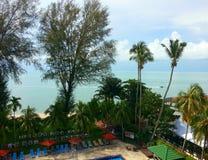Landschapsmening van zonnige warme tropische paradijsbestemming Royalty-vrije Stock Afbeeldingen
