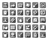 Landschapsontwerp, grijze pictogrammen, monochromatisch, vector Stock Afbeelding