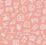 Landschapsontwerp, roze achtergrond, naadloos, contour, vector Stock Afbeeldingen