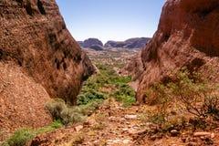 Landschapspanorama van het Karingana-vooruitzicht in Olgas in binnenland Australië stock foto