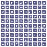 100 landschapspictogrammen geplaatst grunge saffier Stock Afbeelding