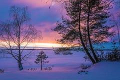 Landschapsschets die van een de winter` s avond, het meer overzien Stock Foto's