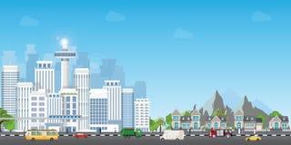 Landschapsstad met grote moderne gebouwen en voorstad met privé huizen stock illustratie