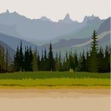Landschapsweg, naald bosbergen op de achtergrond Stock Foto