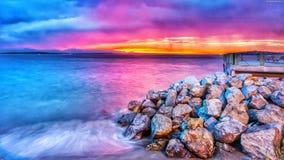 Landscpe. Beach colorfull Hd 4k Wallpaper Design stock photo