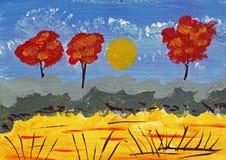 Landscsape το φθινόπωρο - ακρυλική ζωγραφική απεικόνιση αποθεμάτων