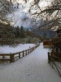 Landseite in der Winterzeit Stockbild