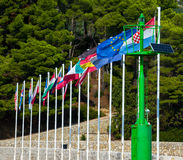 Landsflaggor i Kroatien, Rab Island, Rab City Royaltyfri Fotografi