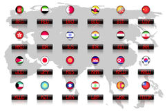 Landsflaggor med officiella valutasymboler vektor illustrationer
