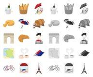 LandsFrankrike tecknad film, mono symboler i den fastställda samlingen för design Det Frankrike och gränsmärkevektorsymbolet lage royaltyfri illustrationer